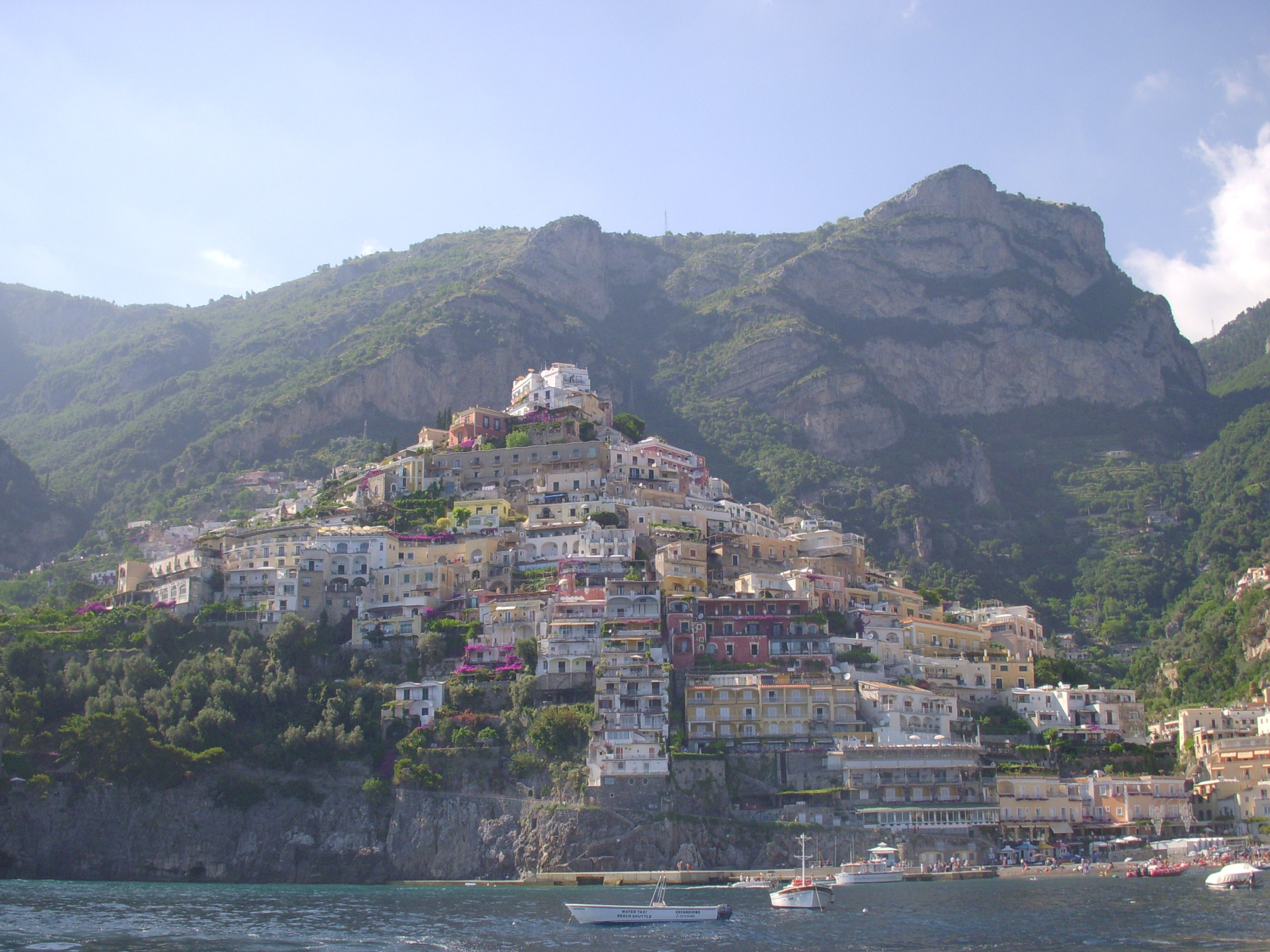 View from our boat of Positano