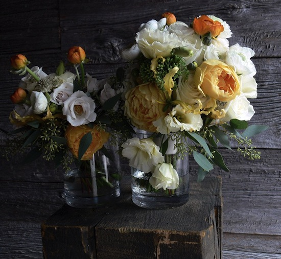 orange flowers bouquet. all-white flowers and try