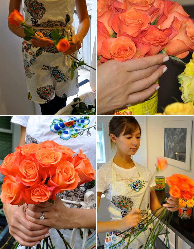 Arranging Flowers-Mexican Food Cans-Camille Styles