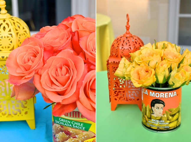 Roses on Cocktail Tables-Mexican Food Cans-Camille Styles