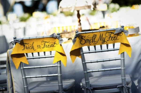 Chair signs-Halloween Wedding-The Sweetest Occasion-Camille Styles Events